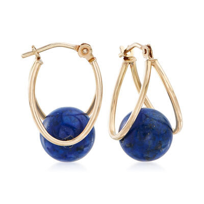 8mm Lapis Double Hoop Earrings in 14kt Yellow Gold, , default