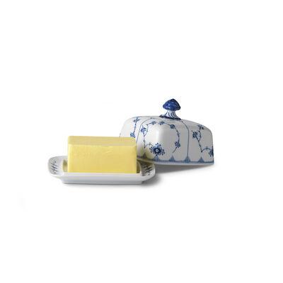 "Royal Copenhagen ""Blue Fluted Plain"" Porcelain Butter Dish"