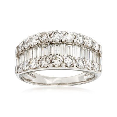 C. 1990 Vintage 2.00 ct. t.w. Brilliant and Baguette-Cut Diamond Ring in Platinum, , default