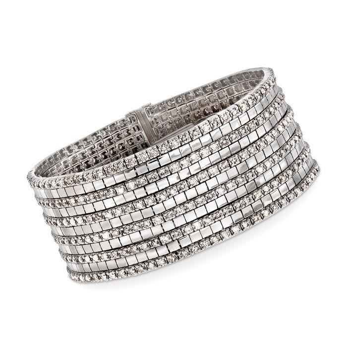 "C. 1980 Vintage 9.00 ct. t.w. Diamond Multi-Row Bracelet in 18kt White Gold. 7"""