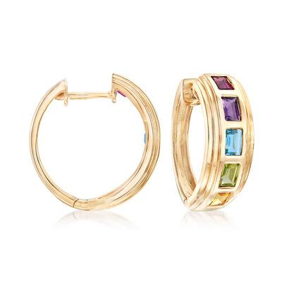 2.40 ct. Tot. Gem wt. Multi-Gem Hoop Earrings in 14kt Yellow Gold, , default