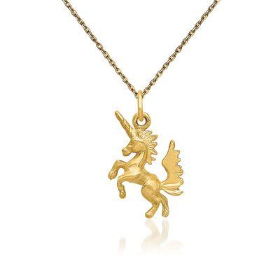 "14kt Yellow Gold Diamond-Cut Dancing Unicorn Necklace. 18"", , default"