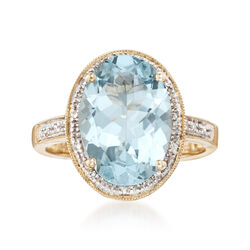 4.20 Carat Aquamarine Ring With Diamond Accents in 14kt Yellow Gold, , default