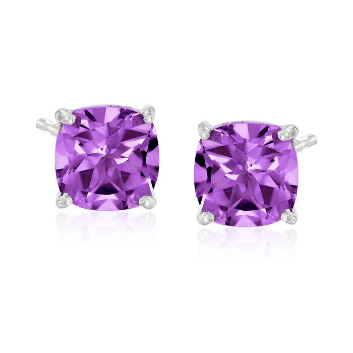 4.90 ct. t.w. Amethyst Stud Earrings in Sterling Silver