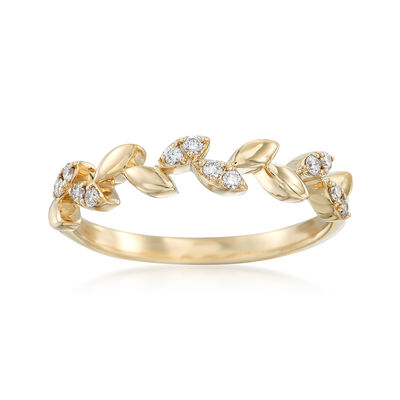 .12 ct. t.w. Diamond Leaf Ring in 14kt Yellow Gold, , default