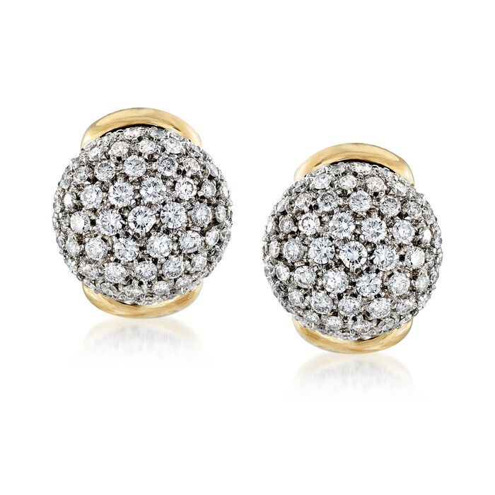 C. 2000 Vintage 4.00 ct. t.w. Diamond Cluster Earrings in 18kt Two-Tone Gold, , default