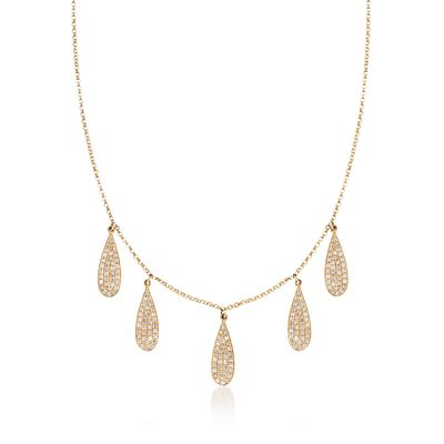 .70 ct. t.w. Diamond Teardrop Bib Necklace in 14kt Yellow Gold, , default