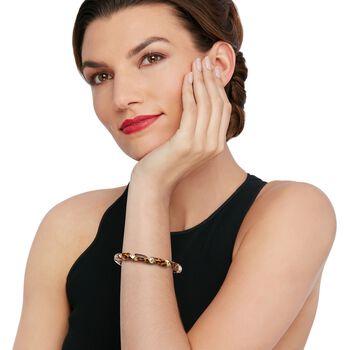 Italian Leopard-Print Enamel Twisted Bangle Bracelet in 18kt Gold Over Sterling, , default