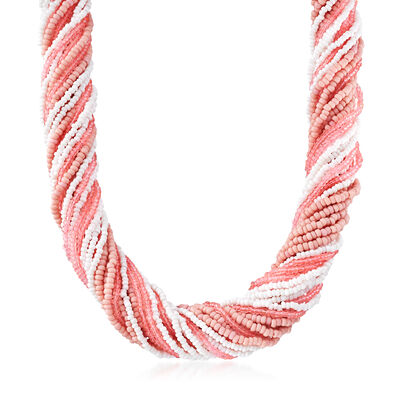 Italian Multicolored Murano Glass Bead Torsade Necklace in Sterling Silver, , default