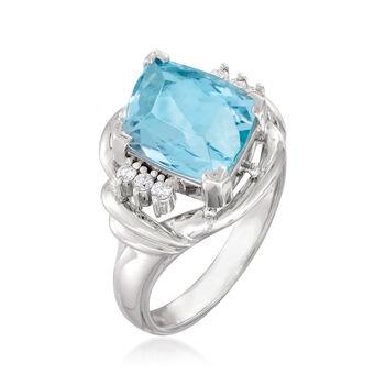 C. 1990 Vintage 3.61 Carat Aquamarine Ring in Platinum. Size 5