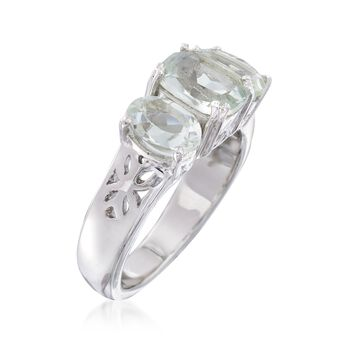 2.40 ct. t.w. Green Prasiolite Three-Stone Ring in Sterling Silver