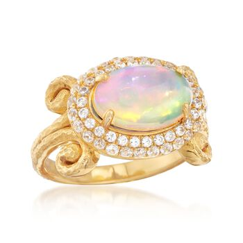 Opal and .90 ct. t.w. White Zircon Halo Ring in 18kt Yellow Gold Over Sterling Silver, , default