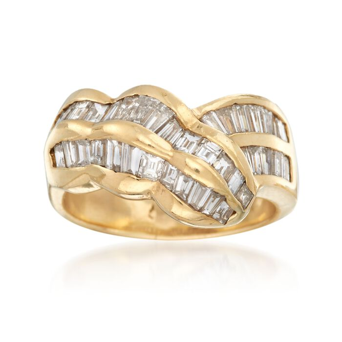 C. 1980 Vintage 2.00 ct. t.w. Baguette Diamond Ring in 14kt Yellow Gold. Size 7.5