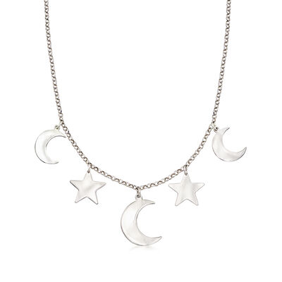 Italian Sterling Silver Moon and Star Necklace, , default