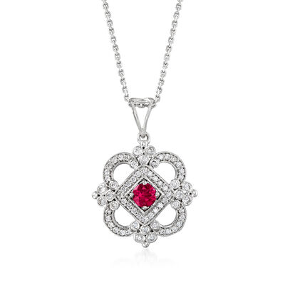 C. 2000 Vintage .60 ct. t.w. Diamond and .40 Carat Ruby Pendant Necklace in 18kt White Gold