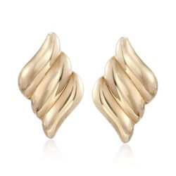 14kt Yellow Gold Triple Curve Clip-On Earrings, , default