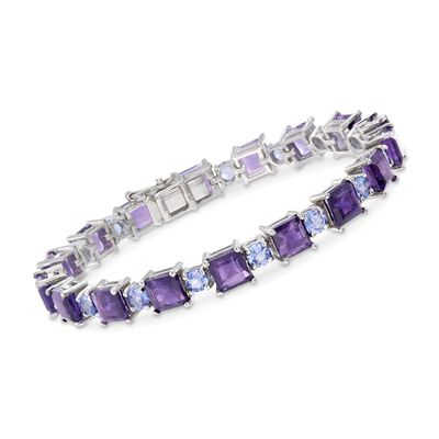17.00 ct. t.w. Amethyst and 3.90 ct. t.w. Tanzanite Bracelet in Sterling Silver, , default