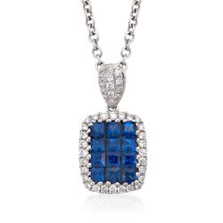 "Gregg Ruth .71 ct. t.w. Sapphire and .18 ct. t.w. Diamond Necklace in 18kt White Gold. 16"", , default"