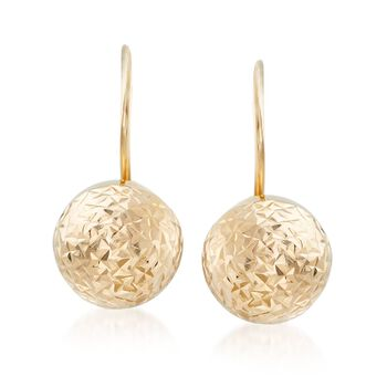 9mm 14kt Yellow Gold Diamond-Cut and Polished Ball Drop Earrings, , default