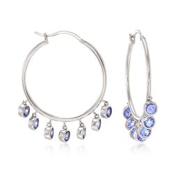 "4.20 ct. t.w. Tanzanite Hoop Earrings in Sterling Silver. 1 1/2""., , default"