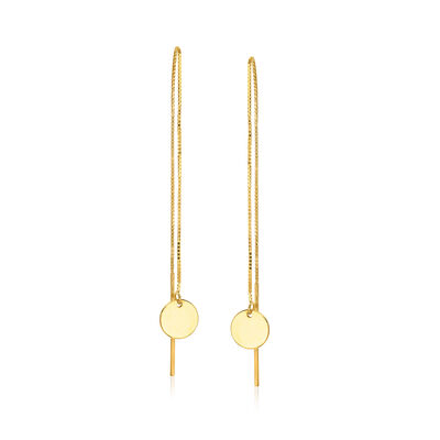 14kt Yellow Gold Disc Drop Threader Earrings
