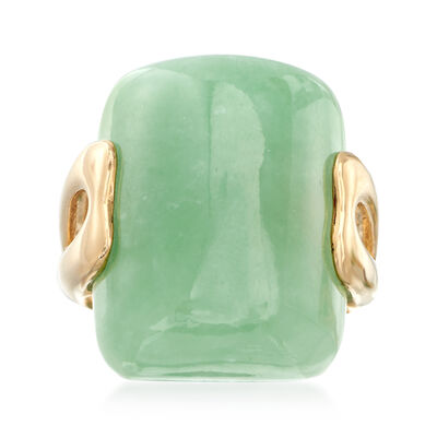 Rectangular Green Jade Ring in 14kt Yellow Gold, , default