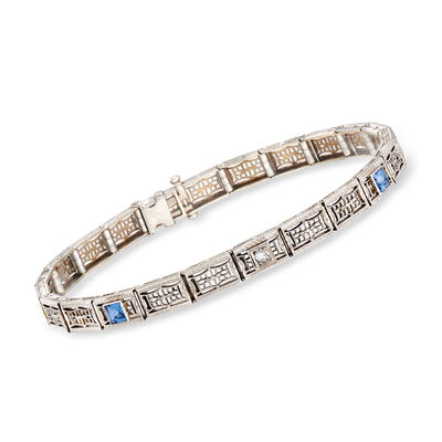 C. 1950 Vintage .40 ct. t.w. Simulated Sapphire Filigree Bracelet with Diamond Accent in Platinum, , default