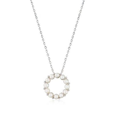 2.5-3mm Cultured Pearl Circle Necklace in Sterling Silver