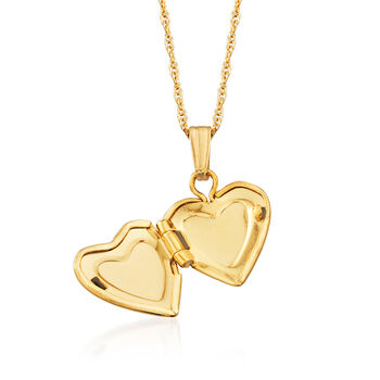 """Child's 14kt Yellow Gold Heart Locket Necklace. 13"""""""
