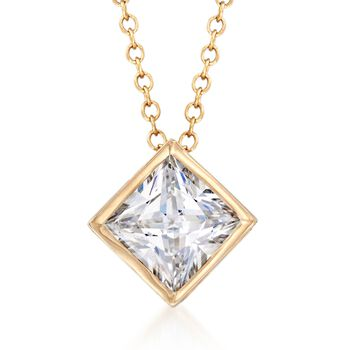 "1.25 Carat Princess-Cut CZ Solitaire Necklace in 14kt Yellow Gold. 16"", , default"