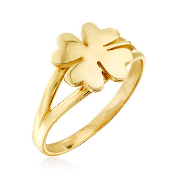 Italian 14kt Yellow Gold Four-Leaf Clover Ring