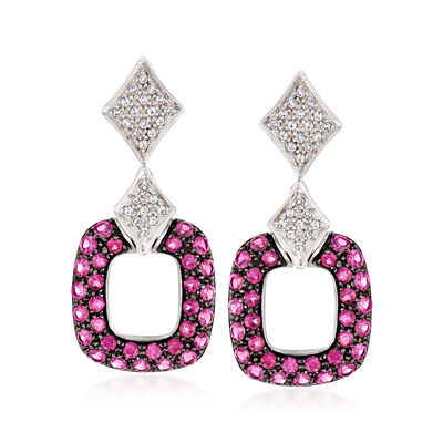 4.90 ct. t.w. Rhodolite Garnet and .60 ct. t.w. White Topaz Drop Earrings, , default