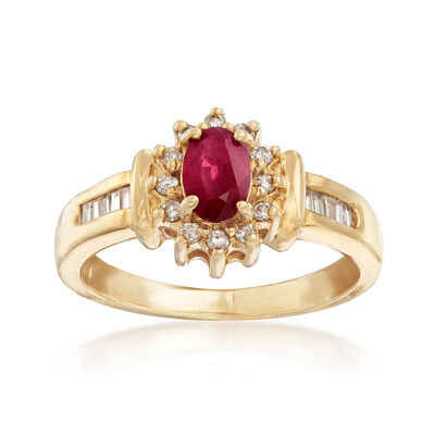 C. 1980 Vintage .50 Carat Ruby and .25 ct. t.w. Diamond Ring in 14kt Yellow Gold, , default