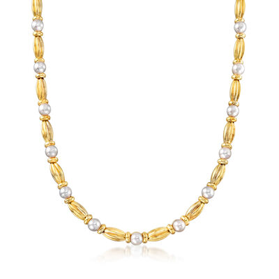 C. 1980 Vintage Tiffany Jewelry 6.5mm Cultured Pearl Station Necklace in 18kt Yellow Gold