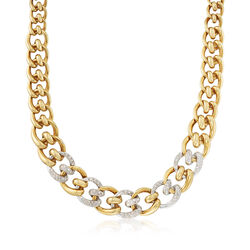 "C. 1980 Vintage 2.50 ct. t.w. Diamond Tapered Link Necklace in 18kt Two-Tone Gold. 16.5"", , default"