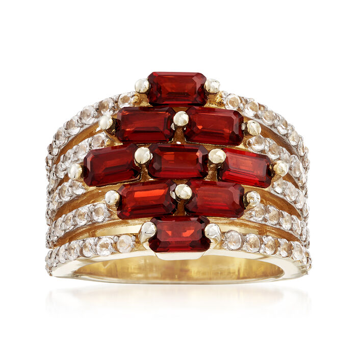 3.40 ct. t.w. Garnet and .60 ct. t.w. White Topaz Multi-Row Ring in 18kt Gold Over Sterling