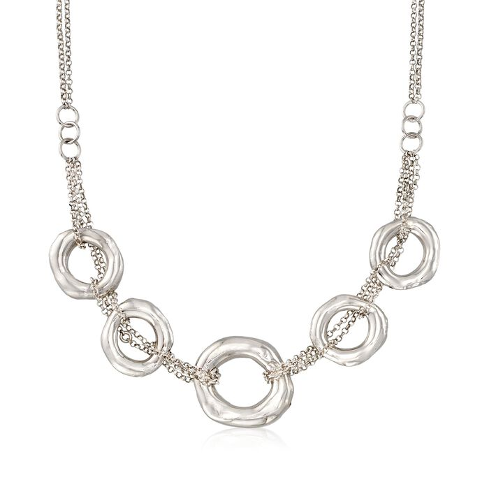 Italian Sterling Silver Multi-Strand Five Open Circle Necklace, , default