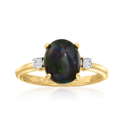 Simulated Black Opal Ring with .10 ct. t.w. White Zircon in 18kt Gold Over Sterling