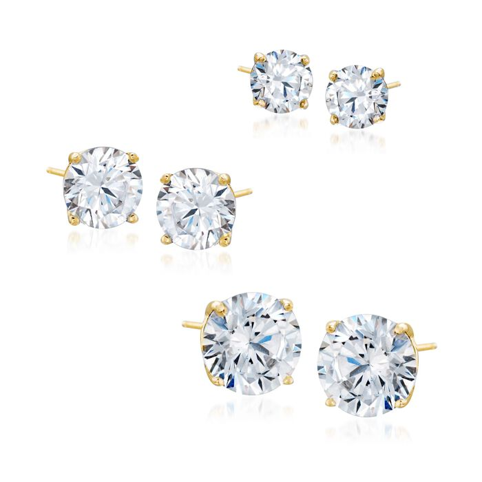 6.00 ct. t.w. CZ Jewelry Set: Three Pairs of Stud Earrings in 18kt Gold Over Sterling, , default