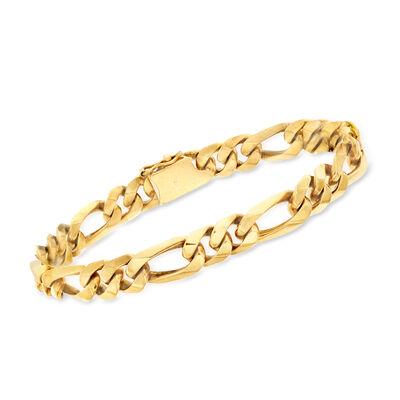 C. 1990 Vintage Men's 18kt Yellow Gold Figaro-Link Bracelet