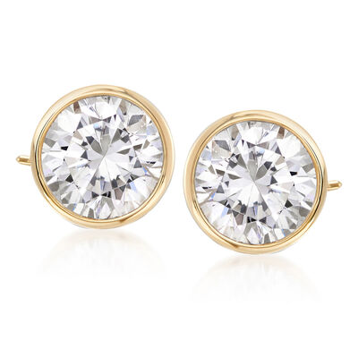 3.00 ct. t.w. Bezel-Set Diamond Stud Earrings in 14kt Yellow Gold, , default