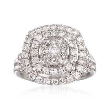 1.50 ct. t.w. Diamond Double Halo Ring in 14kt White Gold, , default