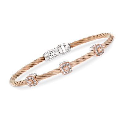 "ALOR ""Shades of Alor"" .14 ct. t.w. Diamond Blush Carnation Cable Station Bracelet in Stainless Steel and 18kt White and Rose Gold"