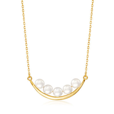 5.5-6mm Cultured Pearl Curved Necklace in 18kt Gold Over Sterling
