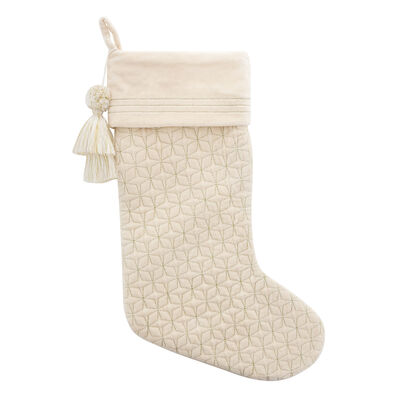 Cream Ornament Velvet Holiday Stocking