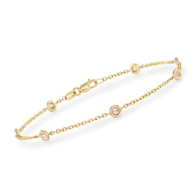 .20 ct. t.w. Bezel-Set Diamond Station Bracelet in 14kt Yellow Gold, , default