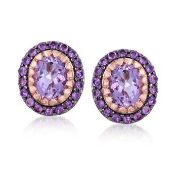 6.25 ct. t.w. Pink and Purple Amethyst Earrings in 14kt Rose Gold Over Sterling, , default