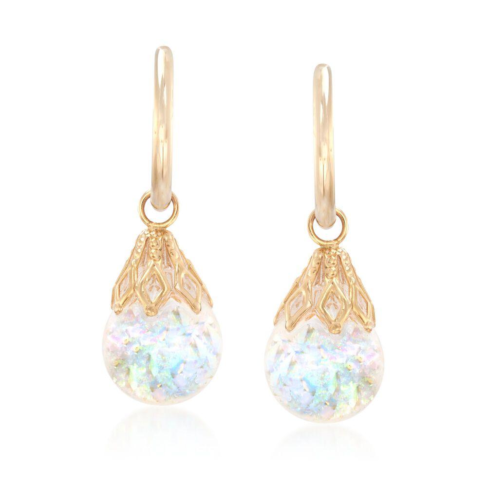 Floating Opal Hoop Drop Earrings In 14kt Yellow Gold Default