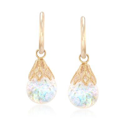 Floating Opal Hoop Drop Earrings in 14kt Yellow Gold, , default