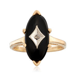 C. 1970 Vintage Oval Black Onyx Ring With Diamond Accent in 14kt Yellow Gold. Size 5.5, , default